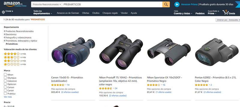 prismáticos usados en amazon